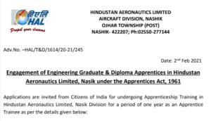 HAL Nashik Apprentice 2021/hal apprentice recruitment2021