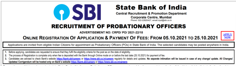 State Bank of India recruitment 2021